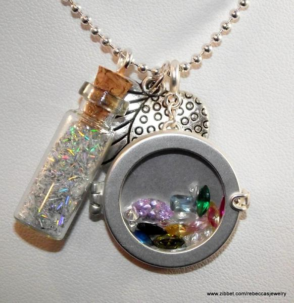 "Bottle of Blue ""Gems"" Pendant"