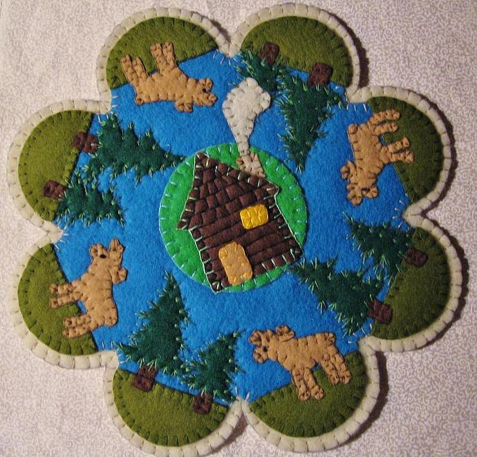 """""""Log Cabin Moose"""" Candle Mat Penny Rug Pine Trees Cottage On A Lake PATTERN #166"""