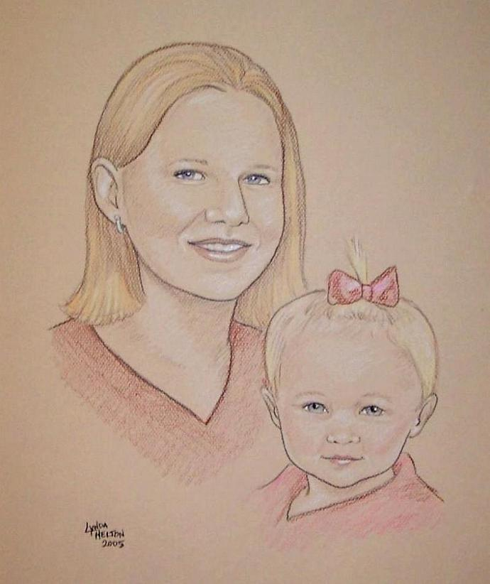 Custom Portrait in Color Pencil on Color Paper - From Your Photos