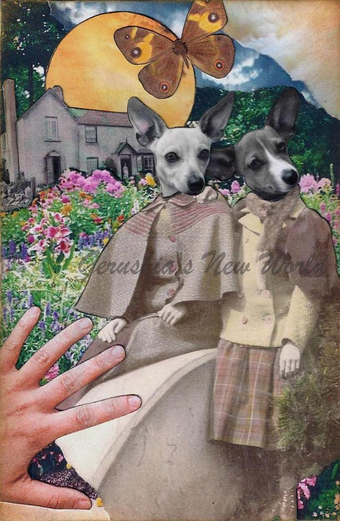 Keepers of The Garden Gate ~ Anthropomorphic Watercolor Collage Print