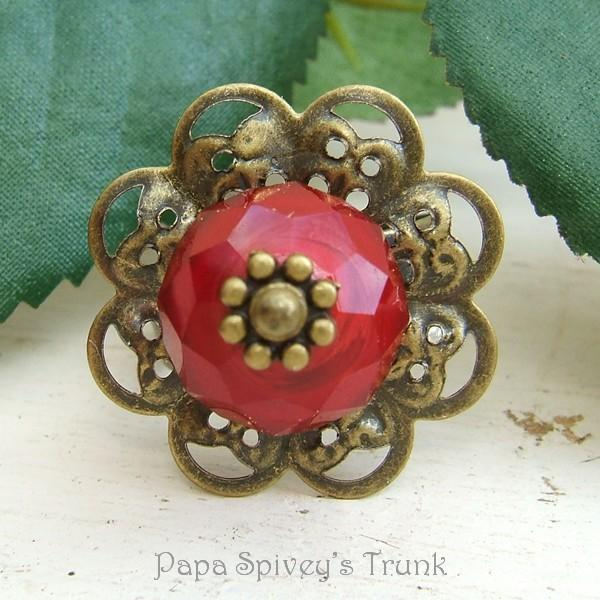 Red Czech Glass Bead Ring 1130820