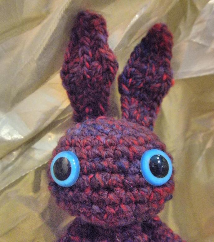 Wine and Red speckled bunny handspun