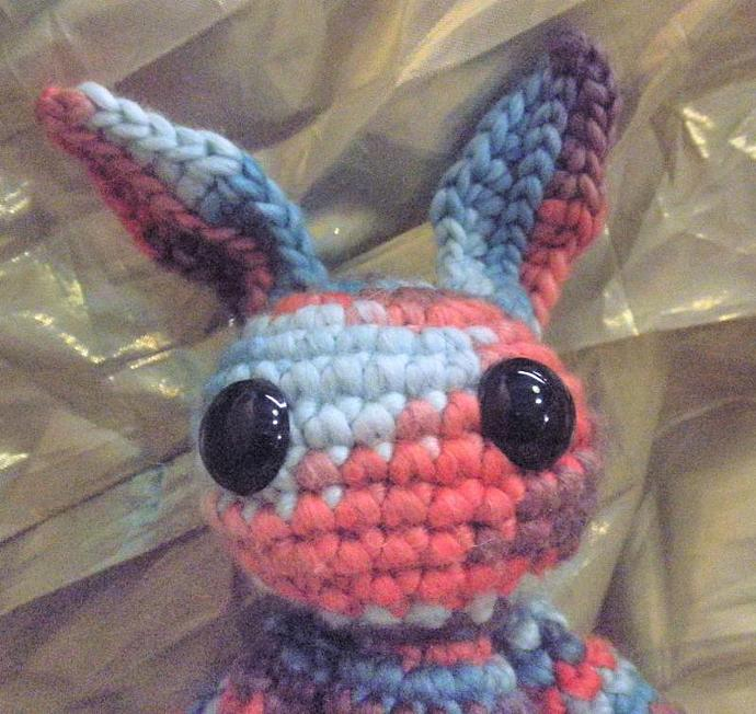 Blue Purple and Pink striped bunny crochet plush