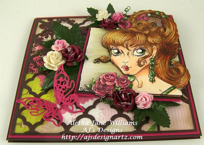 Summer Goddess handmade OOAK blank greeting card