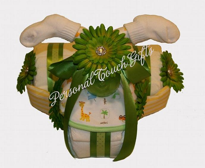 Green Tricycle Baby Diaper Cake Neutral