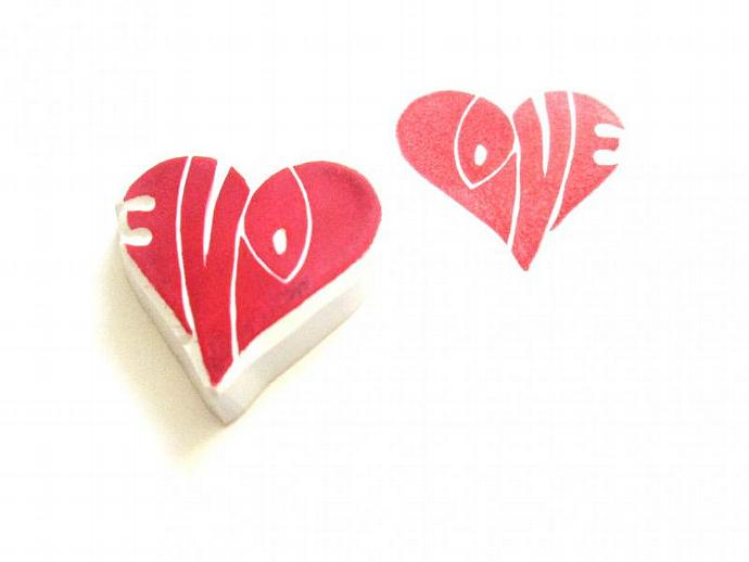 Love in a Heart Hand Carved Rubber Stamp