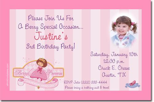 Baby Strawberry Shortcake Baby Shower Invitations