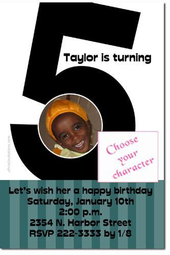 5th Birthday Invitations (ANY COLOR SCHEME)  **Download Immediately*