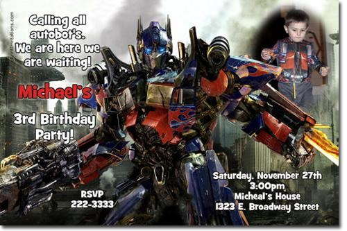 Transformers Birthday Invitations (click for additional designs)