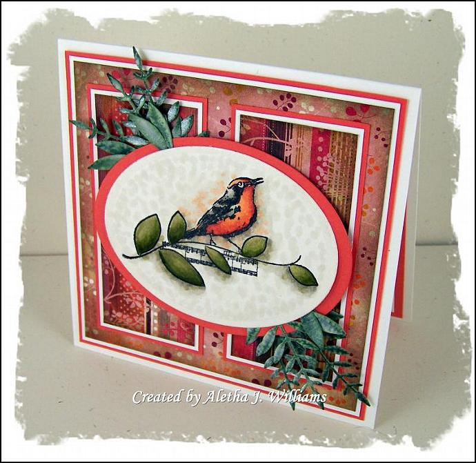 Song Bird OOAK handmade greeting card