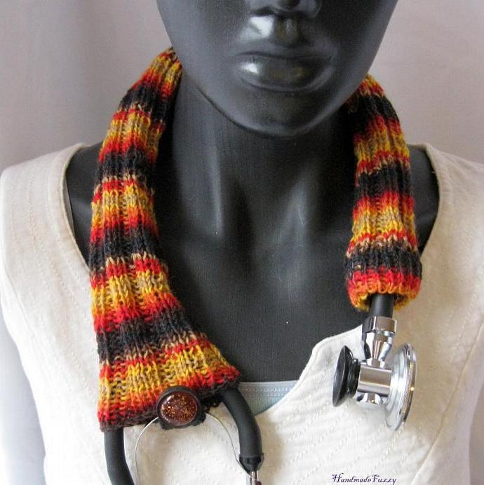 Sundown Stethoscope cozy, knitted
