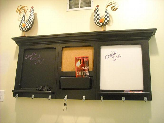 Soot Black  3 piece bulletin board, Cork, Chalk and Dry Erase with a cell phone