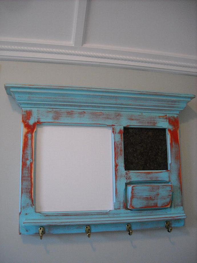 Antiqued Cottage White Chalk Board. Cork Board, letter holder and 4 hooks