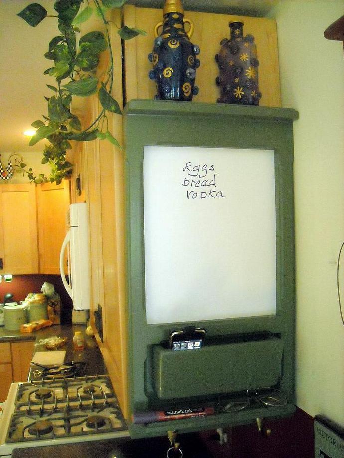 Upper Kitchen Cabinet Bulletin Board