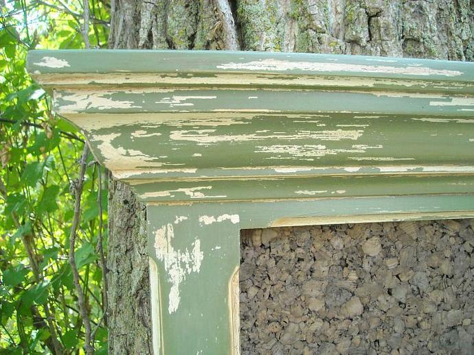 Antiqued Sage Narrow Framed Bulletin Board