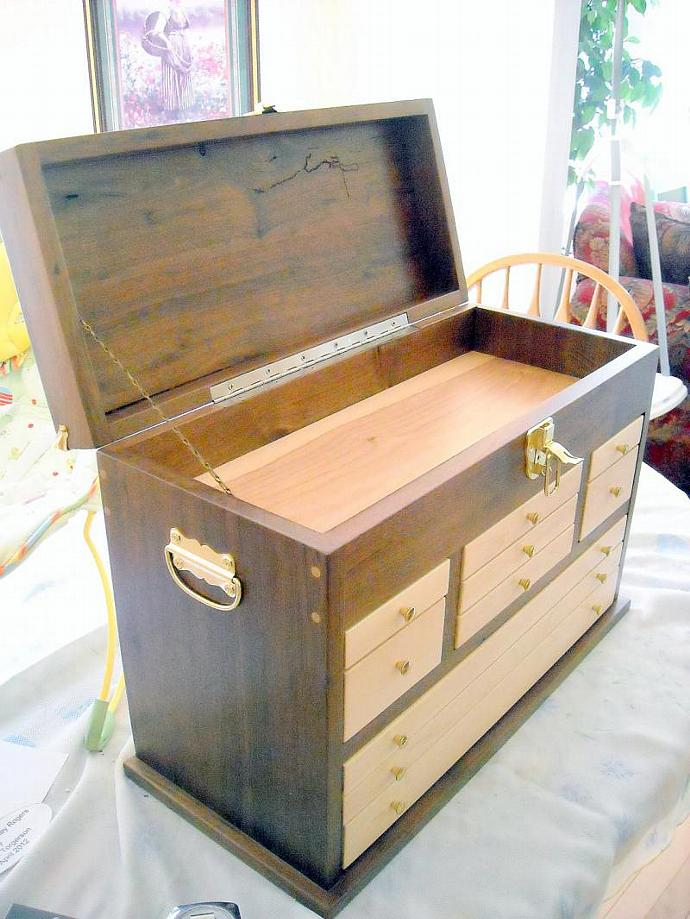 Black Walnut 10 Drawer Treasure Chest