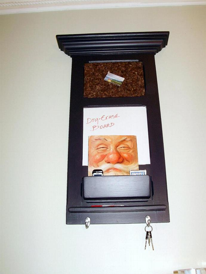 Narrow Bulletin board that includes a Chalkboard, Corkboard and Cell phone