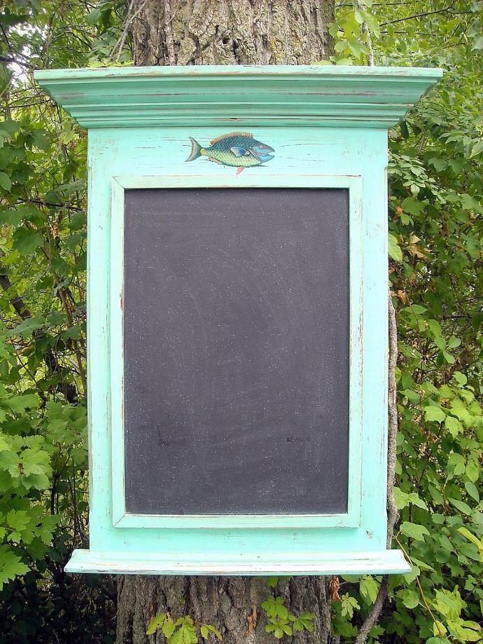 Parrot fish on an Antiqued Acqua Farmhouse bulletin board