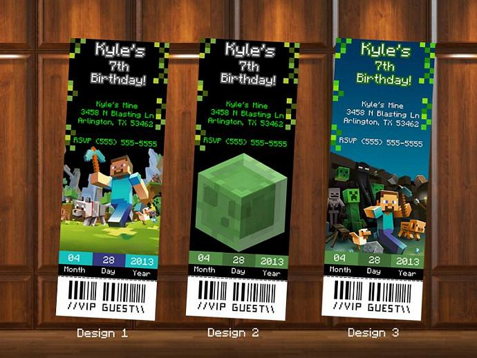 Minecraft Birthday Invitations Ticket by KustomKreations on Zibbet – Ticket Style Birthday Invitations