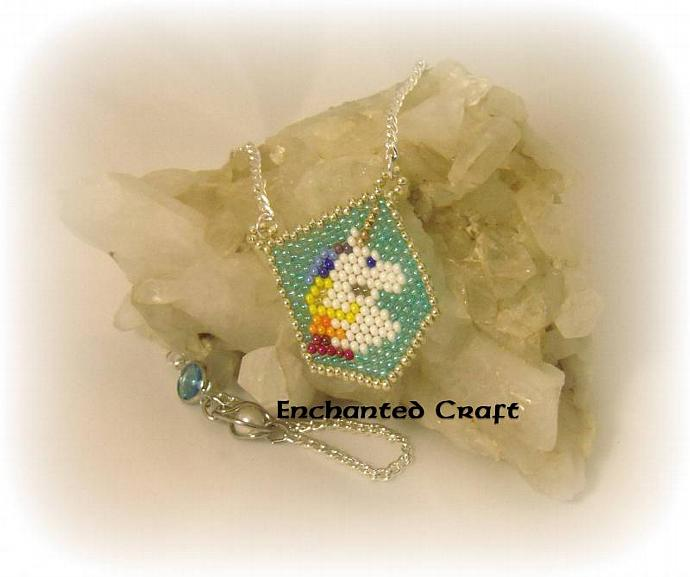 Unicorn beaded pendant, Rainbow