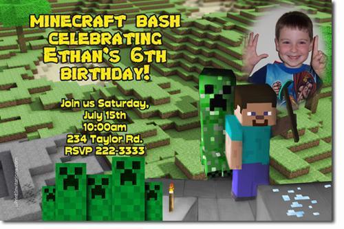 Minecraft Birthday Invitations (download jpg immediately)