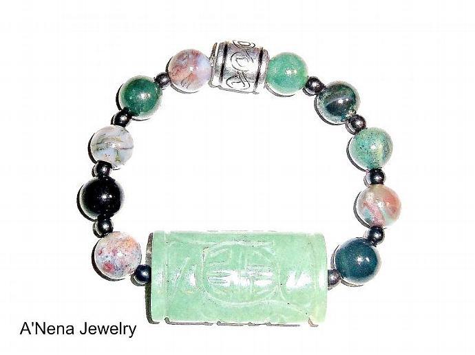 "Bracelet: ""Spiritual Warrior"" Aventurine Jasper, And Hematite"
