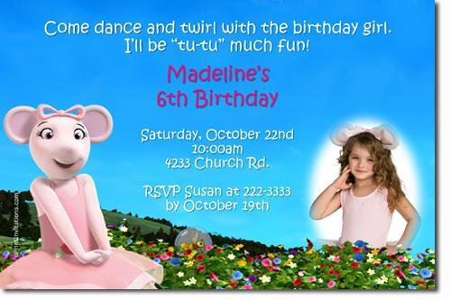 Angelina Ballerina Birthday Invitations – Angelina Ballerina Birthday Invitations