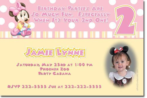 Baby Minnie Mouse Birthday Invitations (download JPG immediately)