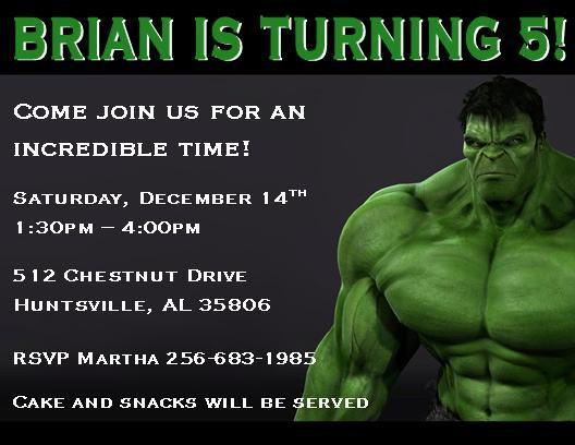 The Incredible Hulk Personalized Birthday – Hulk Birthday Invitations