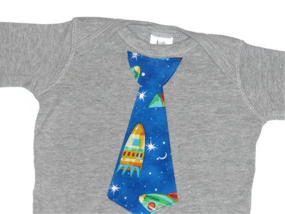 Outer Space Traditional Tie on Heather Grey Long Sleeve Onesie