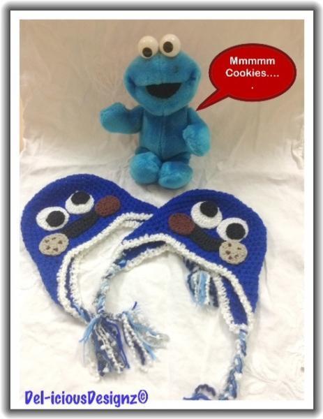 Cookie Monster crochet hat, Sesame Street Character, Small