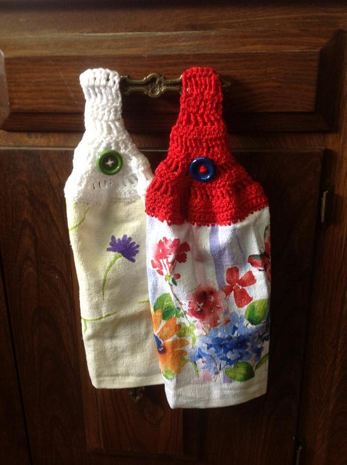 TWO KITCHENTOWELS - CROCHETED TOPS         500-007