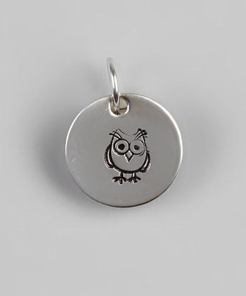 "1/2"" Sterling Silver Owl Pendant - Hand Stamped"