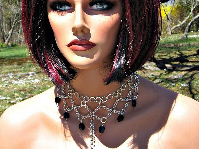 Erzebet Sterling Silver-fill Chainmaille Choker