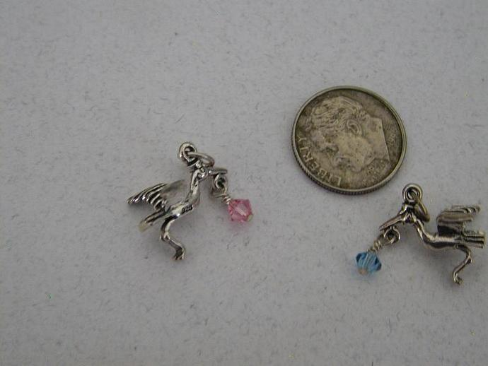 Stork  SS Charm with  Swarovski  Element Bead