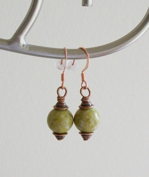 OOAK Yellow Turquoise Copper Dangle Earrings