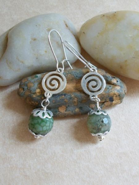 Faceted Agate Teal Dangle Earrings with Silver Kidney Earwires