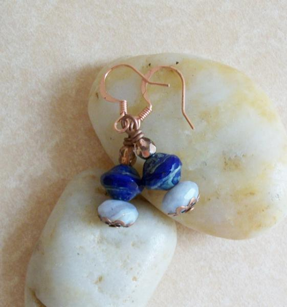OOAK Blue Lace Agate Copper Dangle Earrings
