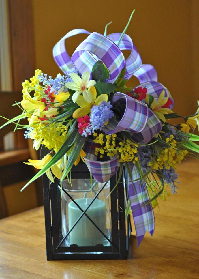 Candle Lantern Swag Floral Arrangement