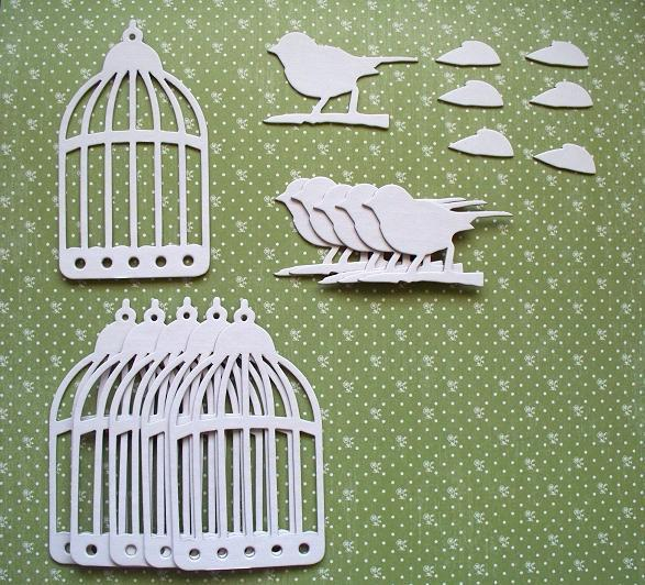 6 sets of (White) Tim Holtz Caged Bird Chipboard Die Cut