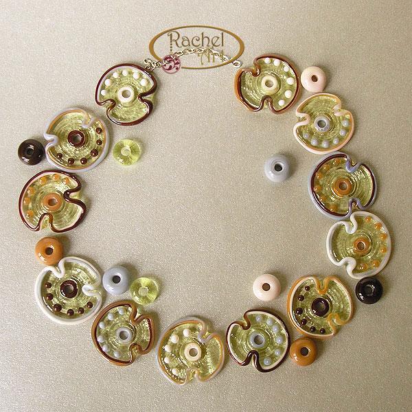 Funky Glass Flower Beads, Lampwork Flower Glass Beads, Handmade Glass Beads