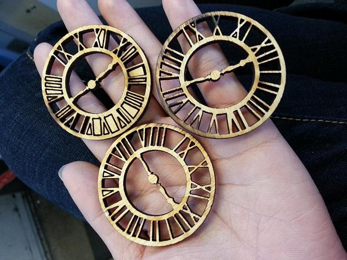 Wood roman clocks-3 pieces