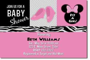 Minnie Mouse Baby Shower Invitations by uPRINTinvitations on Zibbet