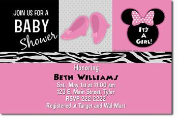 Beautiful Minnie Mouse Baby Shower Invitations *DOWNLOAD JPG IMMEDIATELY**
