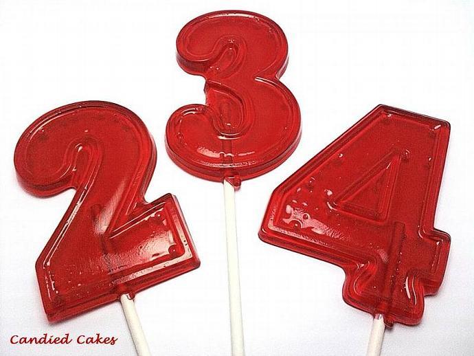 12 - NUMBER LOLLIPOPS - Hard Candy Lollipops