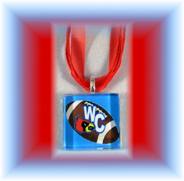 Glass Tile Pendant Webb City Cardinals FOOTBALL FREE SHIPPING