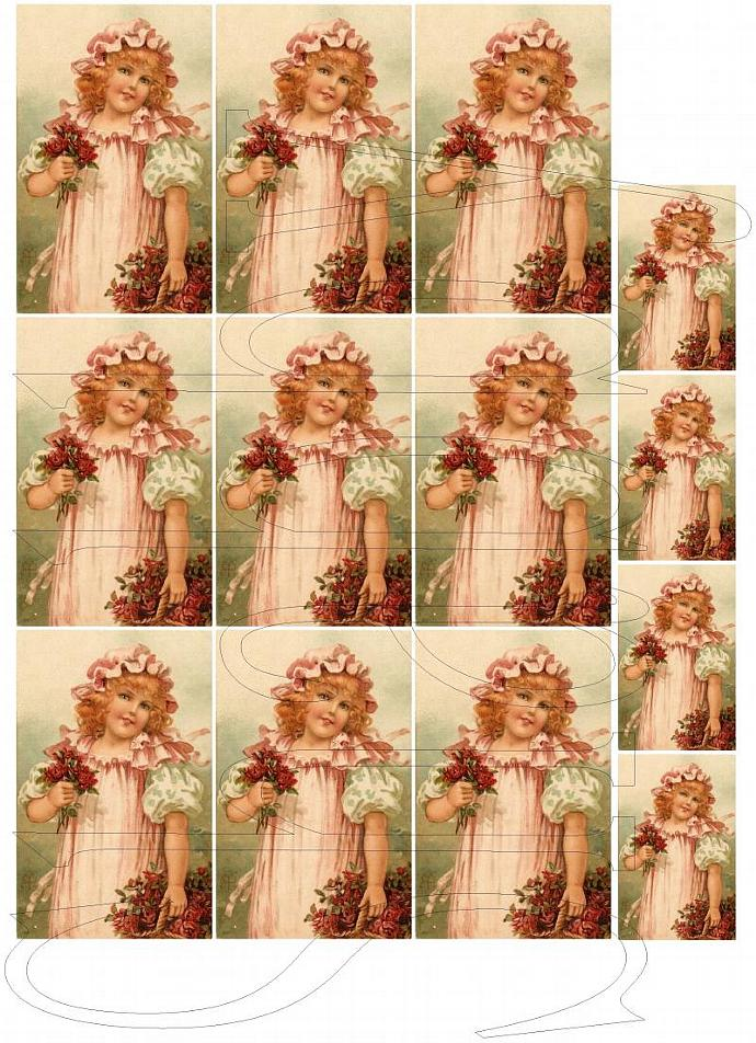 Shabby Chic digital collage sheet for scrapbook and cards  DC498