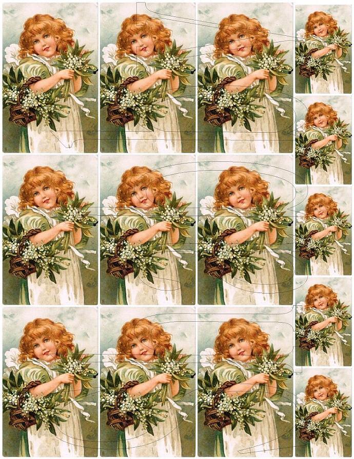 Shabby Chic digital Pretty Child White Lilies Digital  collage sheet for