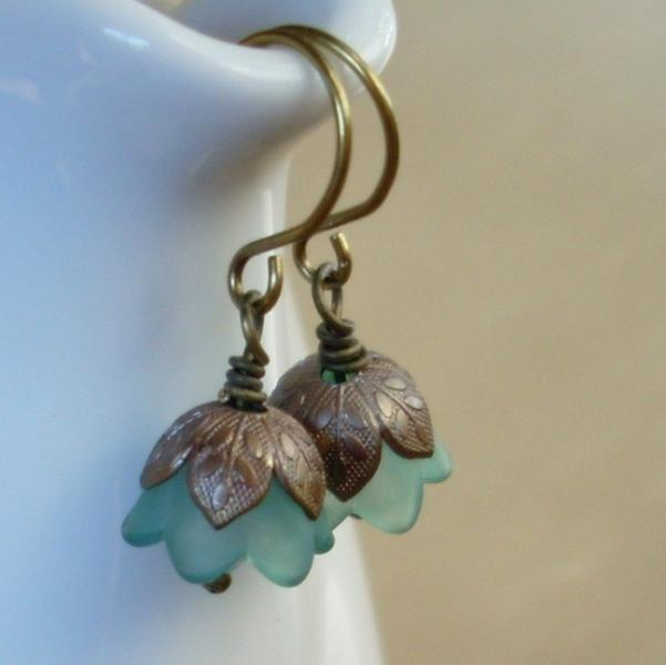 Tiny Flower Dangles in Dark Stormy Teal
