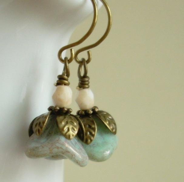 Mottled Pastel Blue Glass Flower Earrings